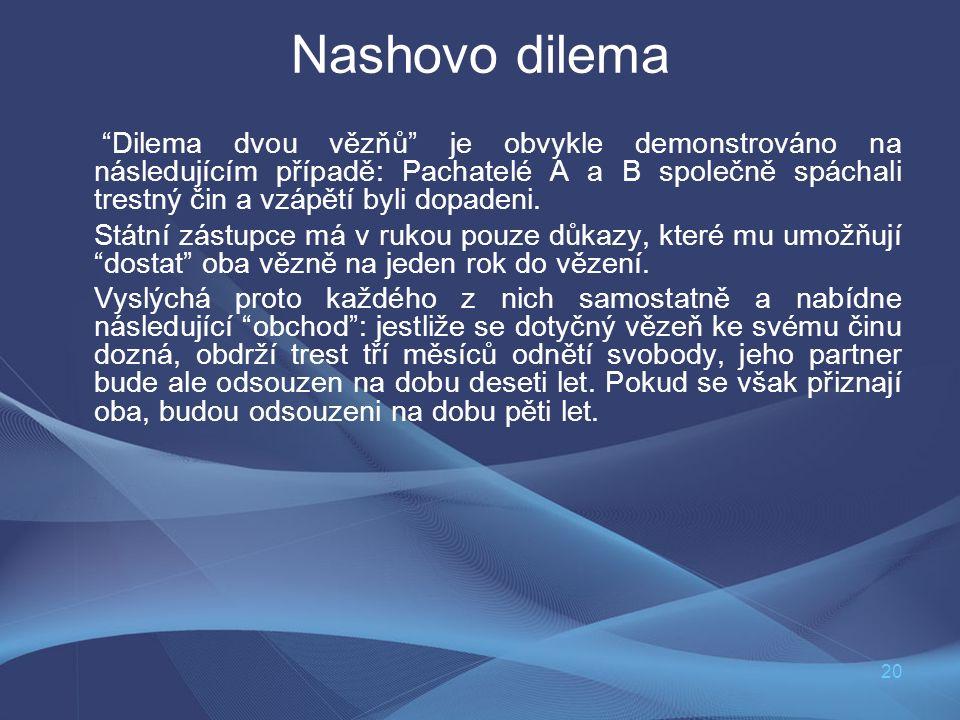 """20 Nashovo dilema """"Dilema dvou vězňů"""" je obvykle demonstrováno na následujícím případě: Pachatelé A a B společně spáchali trestný čin a vzápětí byli d"""