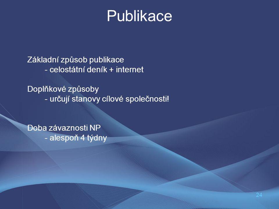 24 Publikace Základní způsob publikace - celostátní deník + internet Doplňkové způsoby - určují stanovy cílové společnosti! Doba závaznosti NP - alesp