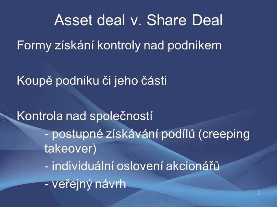 3 Asset deal v. Share Deal Formy získání kontroly nad podnikem Koupě podniku či jeho části Kontrola nad společností - postupné získávání podílů (creep