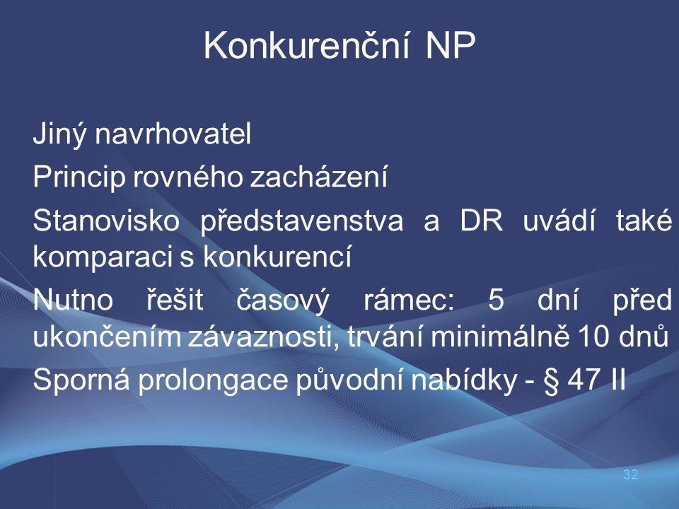 32 Konkurenční NP Jiný navrhovatel Princip rovného zacházení Stanovisko představenstva a DR uvádí také komparaci s konkurencí Nutno řešit časový rámec