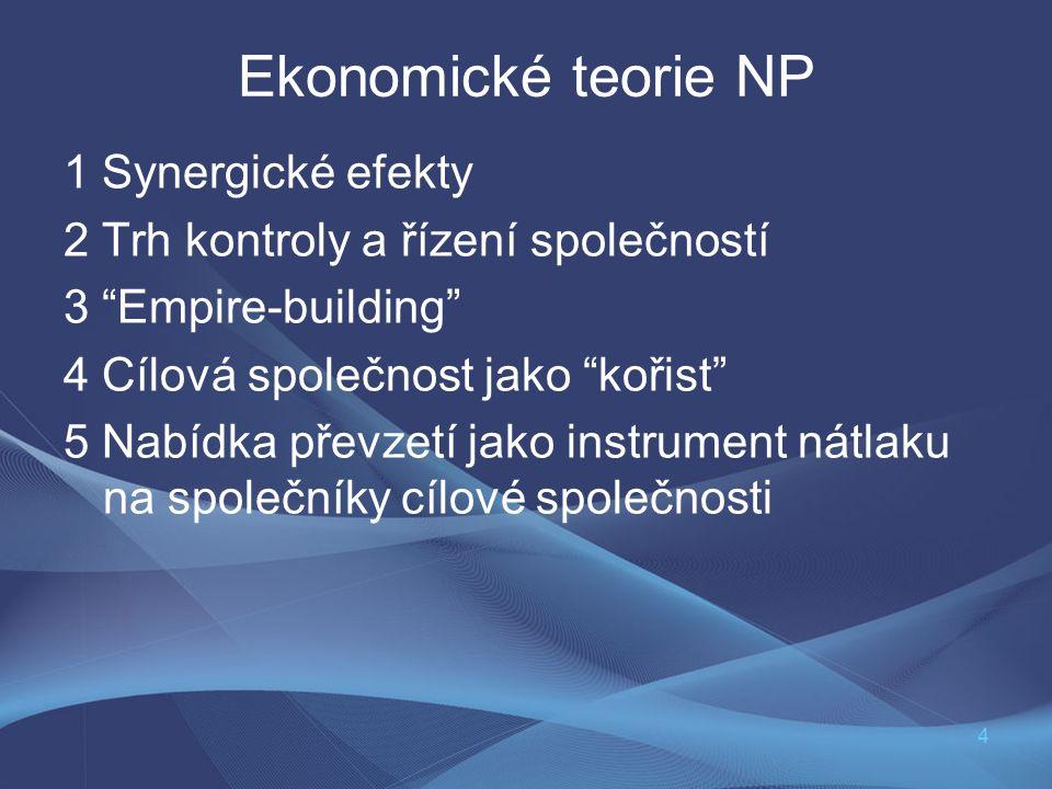 """4 Ekonomické teorie NP 1 Synergické efekty 2 Trh kontroly a řízení společností 3 """"Empire-building"""" 4 Cílová společnost jako """"kořist"""" 5 Nabídka převzet"""