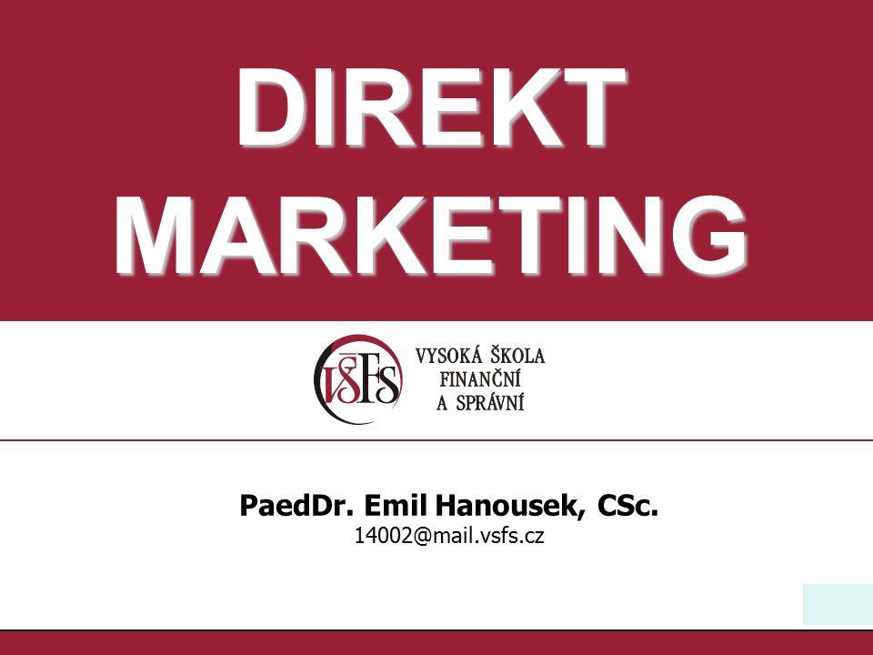 31 PaedDr.Emil Hanousek,CSc., 14002@mail.vsfs.cz :: Databázový marketing I Pelsmacker 398 Co je to databáze.