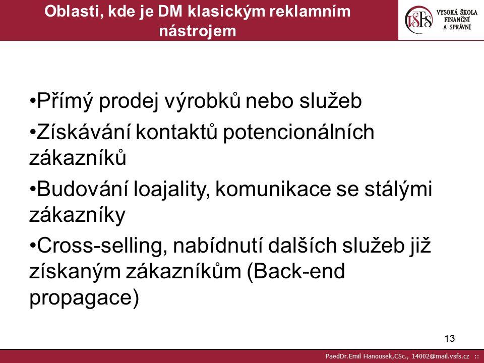 12 PaedDr.Emil Hanousek,CSc., 14002@mail.vsfs.cz :: Předvídatelnost vyplývající z jeho měřitelnosti a statistického přístupu rychlý rozvoj DM je jeho jedinečná schopnost testovat nové myšlenky s minimálním rizikem, protože využívá statistiku, např.