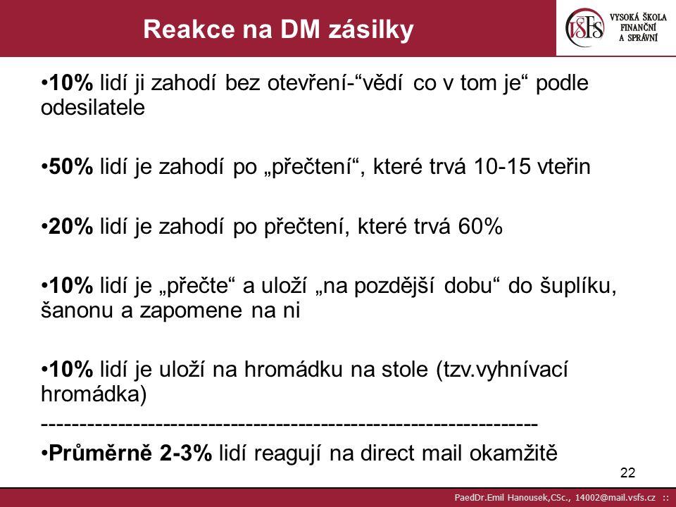 21 PaedDr.Emil Hanousek,CSc., 14002@mail.vsfs.cz :: Účinnost DM – responze na zaslané zásilky Při srovnatelné výrobní akci jsou výrobní náklady na řekl.dopisy 5x vyšší než cena inzerátů, ale účinnost je 10x vyšší (Váňa) Náklady DM v porovnání s obchodním rozhovorem jsou až 300x nižší, přičemž účinnost rozhovorů je jen 5x až 10x vyšší (Váňa) Průměrná responze u informačních DM je 3- 6% Průměrná responze u produktových DM je 1,5 -3%