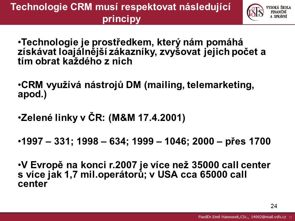 """23 PaedDr.Emil Hanousek,CSc., 14002@mail.vsfs.cz :: CRM – Customer Relationship Management – Řízení vztahu se zákazníky Většinou chápáno jako """"telefonní služba pro zákazníky 1."""