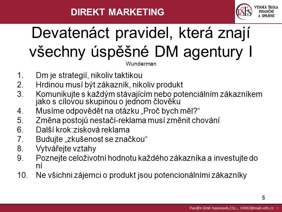 15 PaedDr.Emil Hanousek,CSc., 14002@mail.vsfs.cz :: Přímý prodej může být uplatňován jako přímý prodejní kanál nebo technika distribuce, tj.