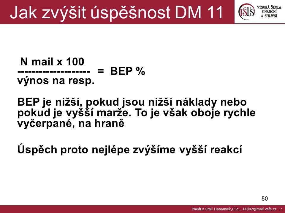 49 PaedDr.Emil Hanousek,CSc., 14002@mail.vsfs.cz :: Break-even-point (BEP) 10 náklady na 100 mailingů v Kč BEP = ---------------------------------------- % marže na odpověď (reakci) Kč 20 x 100 = 2 000 Kč BEP= ------------------- ------------- = 2 % 20% z 5 000 = 1 000 Kč
