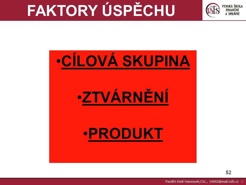 51 PaedDr.Emil Hanousek,CSc., 14002@mail.vsfs.cz :: Úspěch zvýšením reakce 12 % reakcí BEP ÚSPĚCH příjem - dny