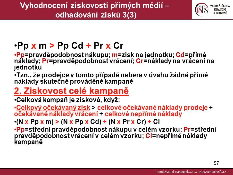 56 PaedDr.Emil Hanousek,CSc., 14002@mail.vsfs.cz :: Vyhodnocení ziskovosti přímých médií – odhadování zisků 2(3) Očekávaný zisk z prodeje: = příspěvková marže u jednotlivce x pravděpodobnost tohoto prodeje Očekávané přímé náklady prodeje: = přímé náklady kontaktování jednotlivce + očekávané náklady vrácení (koupí a vrátí) Očekávaný náklad vrácení: = pravděpodobnost vrácení x náklady na vrácení Tzn.