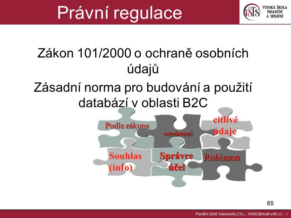 64 PaedDr.Emil Hanousek,CSc., 14002@mail.vsfs.cz :: Regulace PrávníPrávní –Listina zákl.