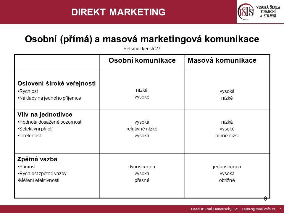 29 PaedDr.Emil Hanousek,CSc., 14002@mail.vsfs.cz :: Relační (vztahový) marketing I Foret str.320 rozvíjí se právě díky vývoji CRM nabízí alternativu k tzv.