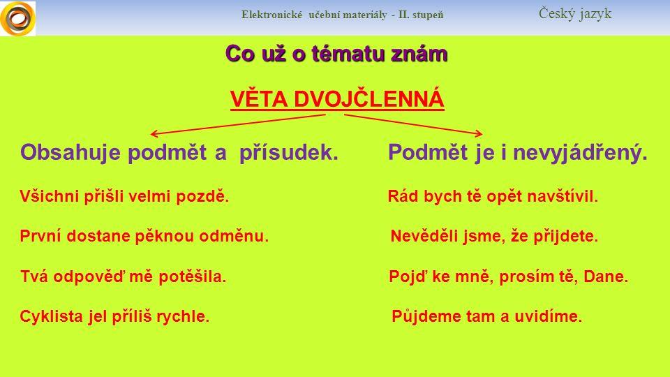 Elektronické učební materiály - II. stupeň Český jazyk Co už o tématu znám Co už o tématu znám VĚTA DVOJČLENNÁ Obsahuje podmět a přísudek. Podmět je i