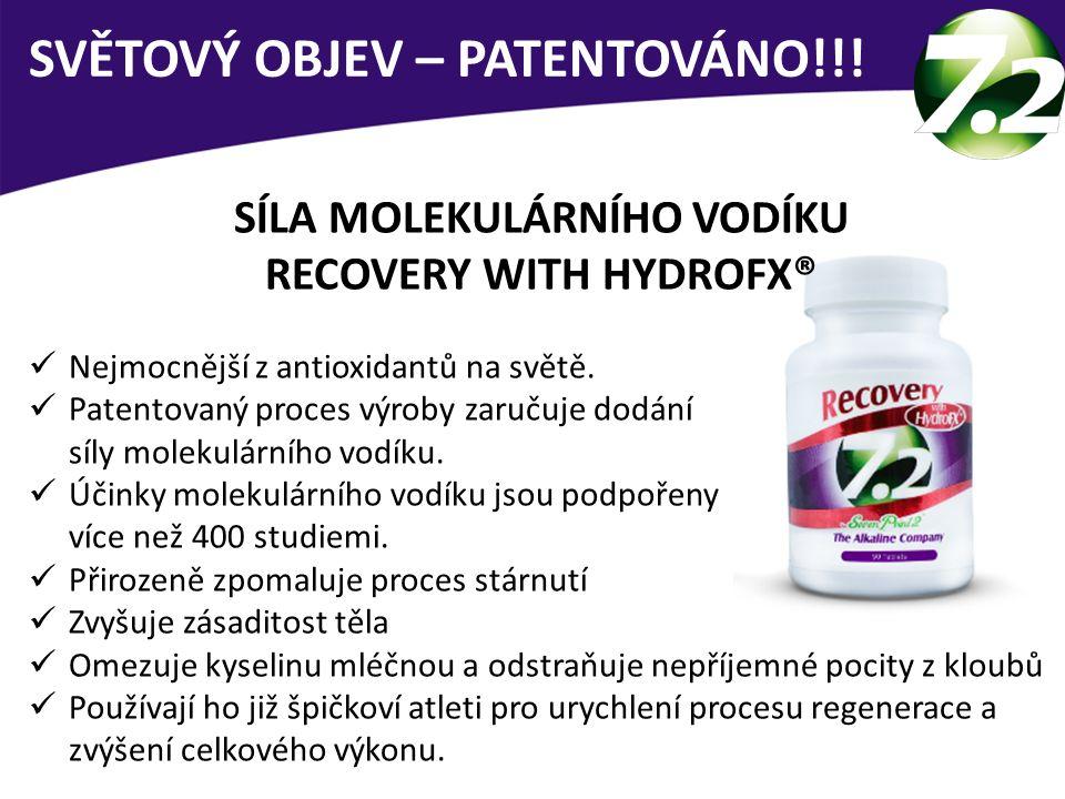 SÍLA MOLEKULÁRNÍHO VODÍKU RECOVERY WITH HYDROFX® Nejmocnější z antioxidantů na světě. Patentovaný proces výroby zaručuje dodání síly molekulárního vod
