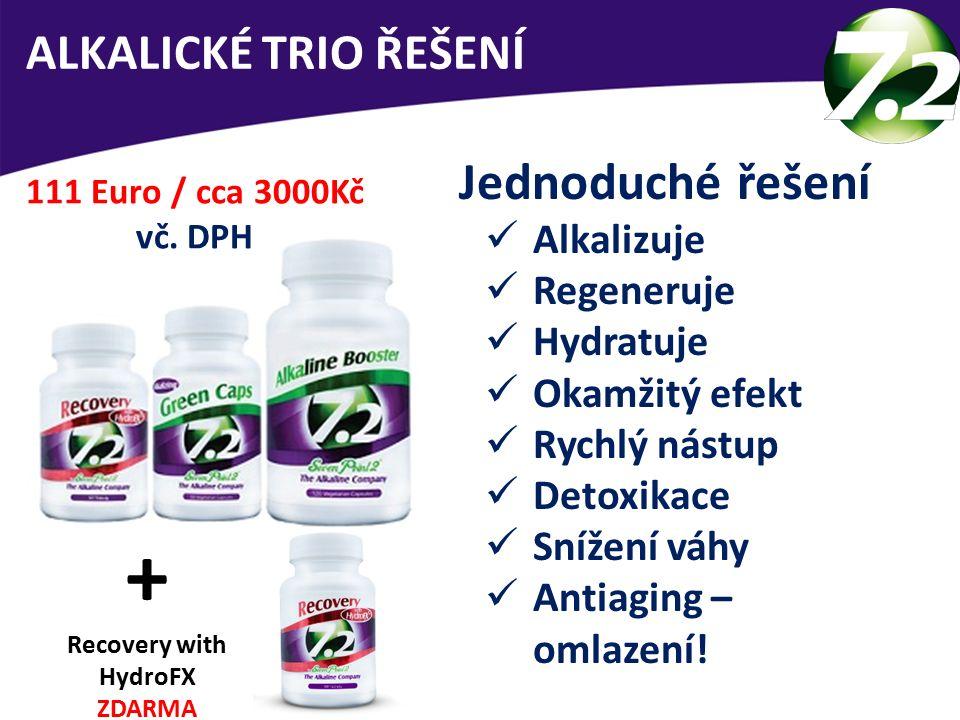 ALKALICKÉ TRIO ŘEŠENÍ Jednoduché řešení Alkalizuje Regeneruje Hydratuje Okamžitý efekt Rychlý nástup Detoxikace Snížení váhy Antiaging – omlazení! 111