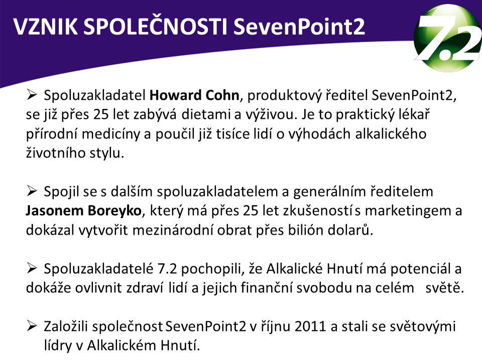  Spoluzakladatel Howard Cohn, produktový ředitel SevenPoint2, se již přes 25 let zabývá dietami a výživou. Je to praktický lékař přírodní medicíny a
