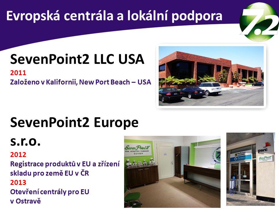 SevenPoint2 LLC USA 2011 Založeno v Kalifornii, New Port Beach – USA SevenPoint2 Europe s.r.o. 2012 Registrace produktů v EU a zřízení skladu pro země