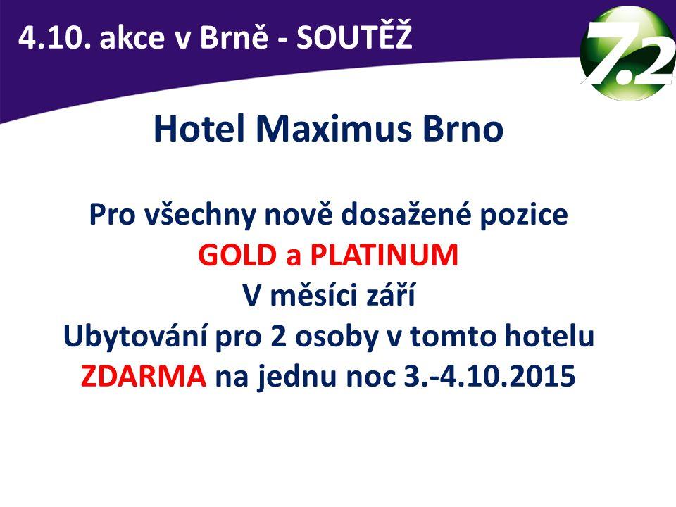 4.10. akce v Brně - SOUTĚŽ Hotel Maximus Brno Pro všechny nově dosažené pozice GOLD a PLATINUM V měsíci září Ubytování pro 2 osoby v tomto hotelu ZDAR