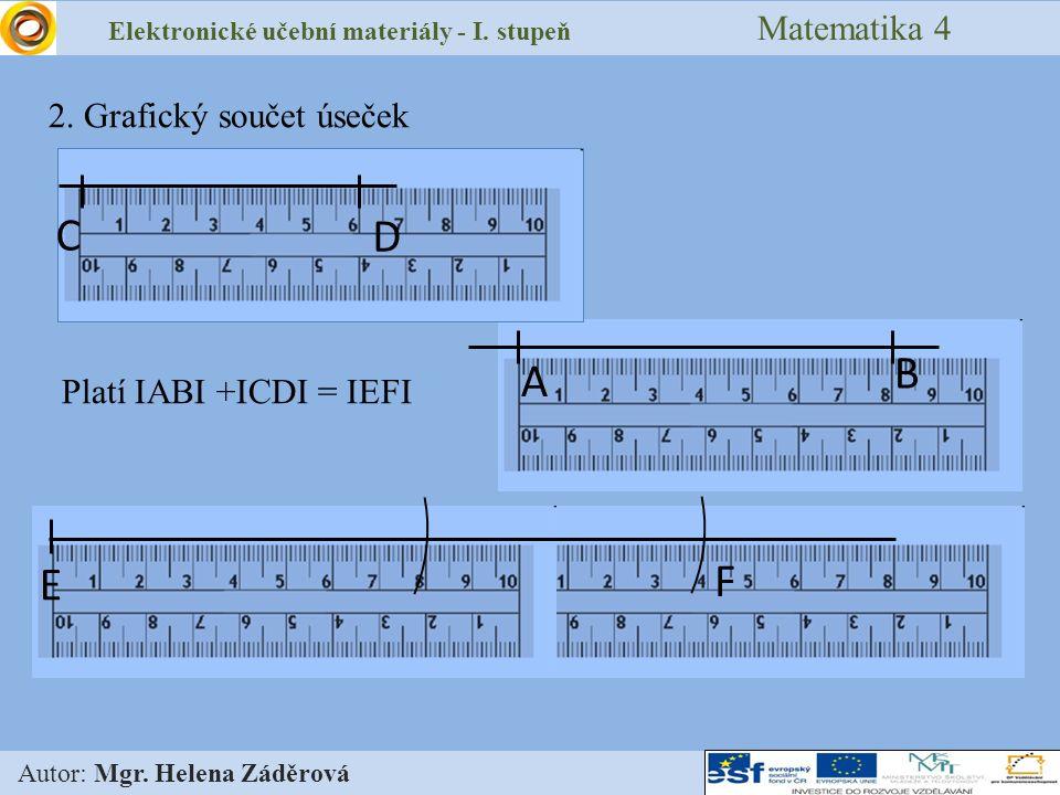 Elektronické učební materiály - I. stupeň Matematika 4 Autor: Mgr. Helena Záděrová 2. Grafický součet úseček A B D C E F Platí IABI +ICDI = IEFI