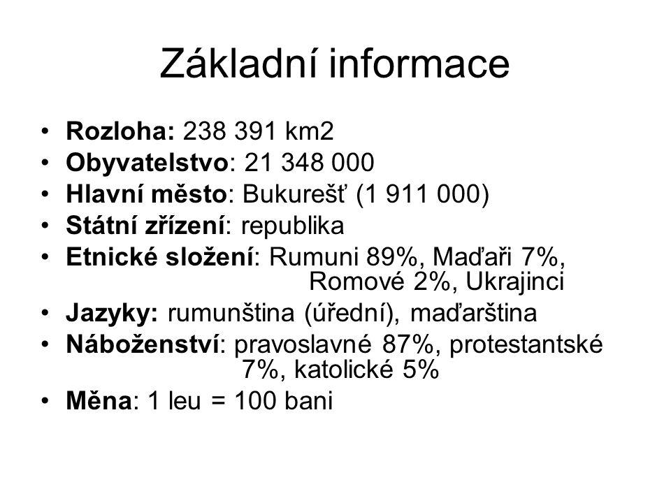 Základní informace Rozloha: 238 391 km2 Obyvatelstvo: 21 348 000 Hlavní město: Bukurešť (1 911 000) Státní zřízení: republika Etnické složení: Rumuni 89%, Maďaři 7%, Romové 2%, Ukrajinci Jazyky: rumunština (úřední), maďarština Náboženství: pravoslavné 87%, protestantské 7%, katolické 5% Měna: 1 leu = 100 bani