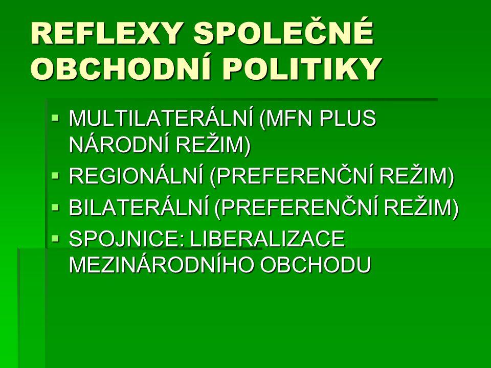 REFLEXY SPOLEČNÉ OBCHODNÍ POLITIKY  MULTILATERÁLNÍ (MFN PLUS NÁRODNÍ REŽIM)  REGIONÁLNÍ (PREFERENČNÍ REŽIM)  BILATERÁLNÍ (PREFERENČNÍ REŽIM)  SPOJ