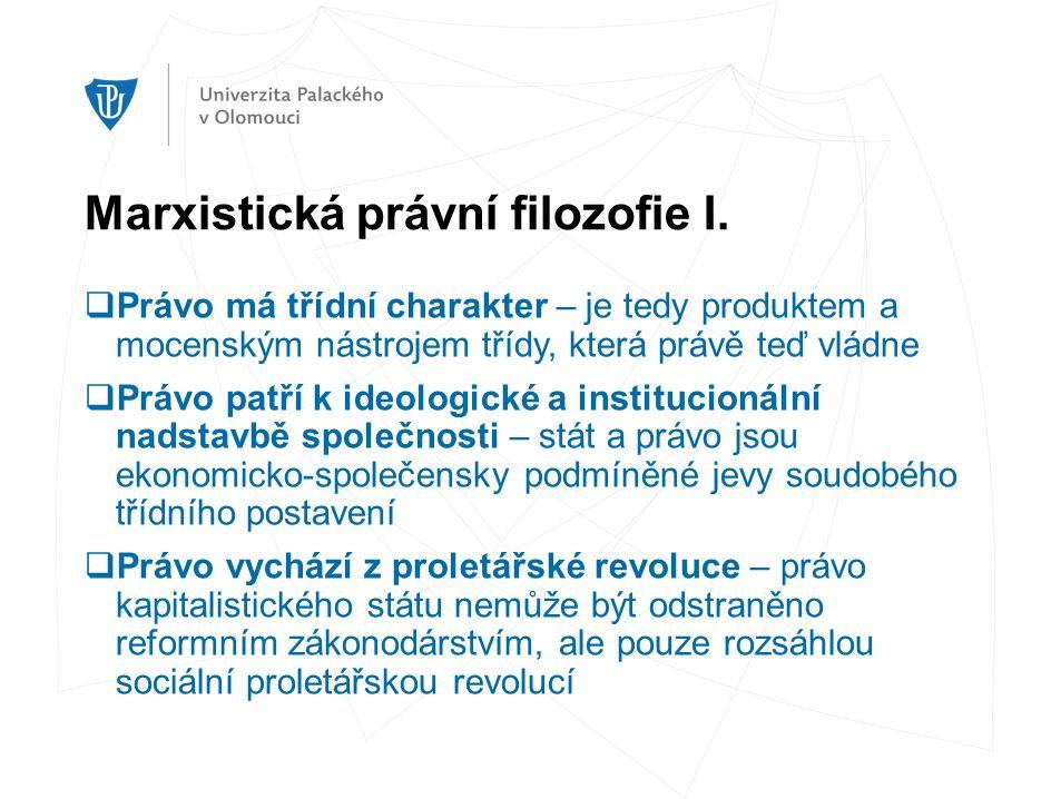 Marxistická právní filozofie I.