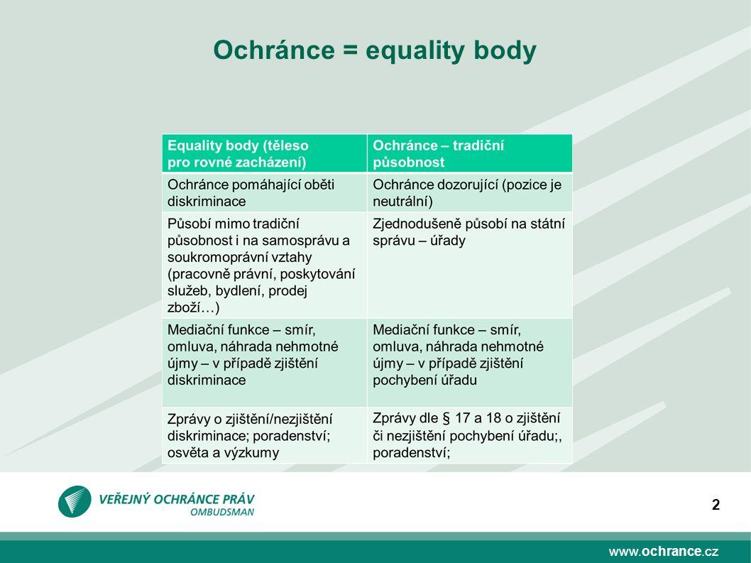 www.ochrance.cz 2 Ochránce = equality body