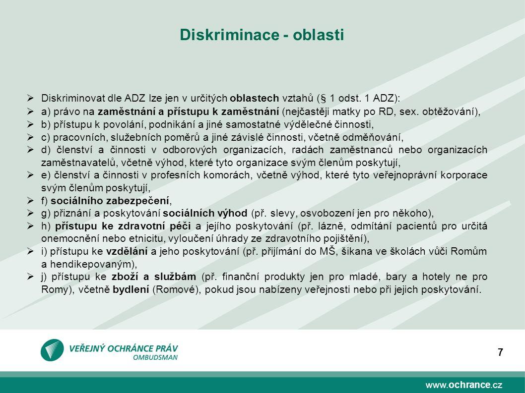 www.ochrance.cz 7 Diskriminace - oblasti  Diskriminovat dle ADZ lze jen v určitých oblastech vztahů (§ 1 odst.