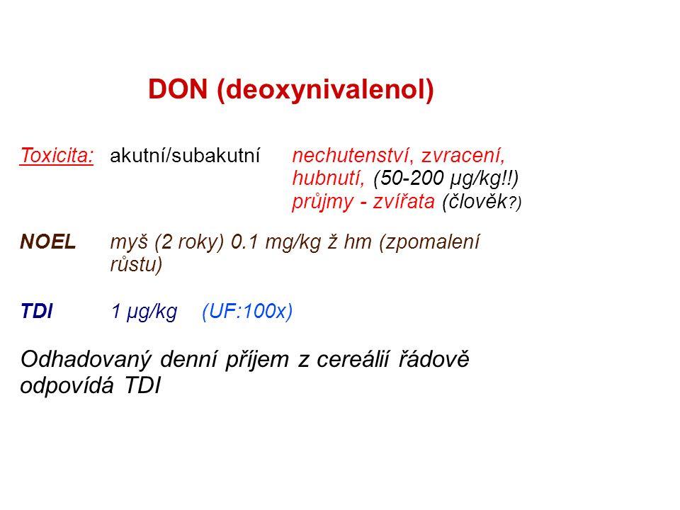 DON (deoxynivalenol) Toxicita: akutní/subakutní nechutenství, zvracení, hubnutí, (50-200 µg/kg!!) průjmy - zvířata (člověk ) NOELmyš (2 roky) 0.1 mg/kg ž hm (zpomalení růstu) TDI1 μg/kg(UF:100x) Odhadovaný denní příjem z cereálií řádově odpovídá TDI