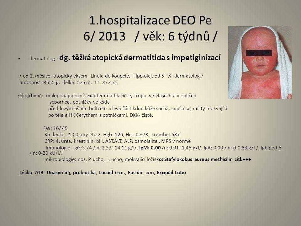 1.hospitalizace DEO Pe 6/ 2013 / věk: 6 týdnů / dermatolog- dg.