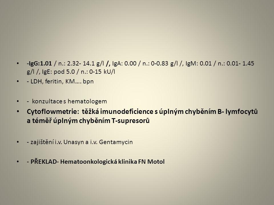 -IgG:1.01 / n.: 2.32- 14.1 g/l /, IgA: 0.00 / n.: 0-0.83 g/l /, IgM: 0.01 / n.: 0.01- 1.45 g/l /, IgE: pod 5.0 / n.: 0-15 kU/l - LDH, feritin, KM…. bp