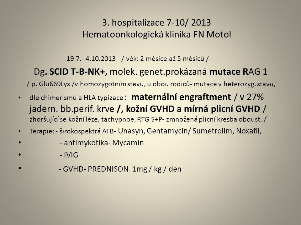 3. hospitalizace 7-10/ 2013 Hematoonkologická klinika FN Motol 19.7.- 4.10.2013 / věk: 2 měsíce až 5 měsíců / Dg. SCID T-B-NK+, molek. genet.prokázaná