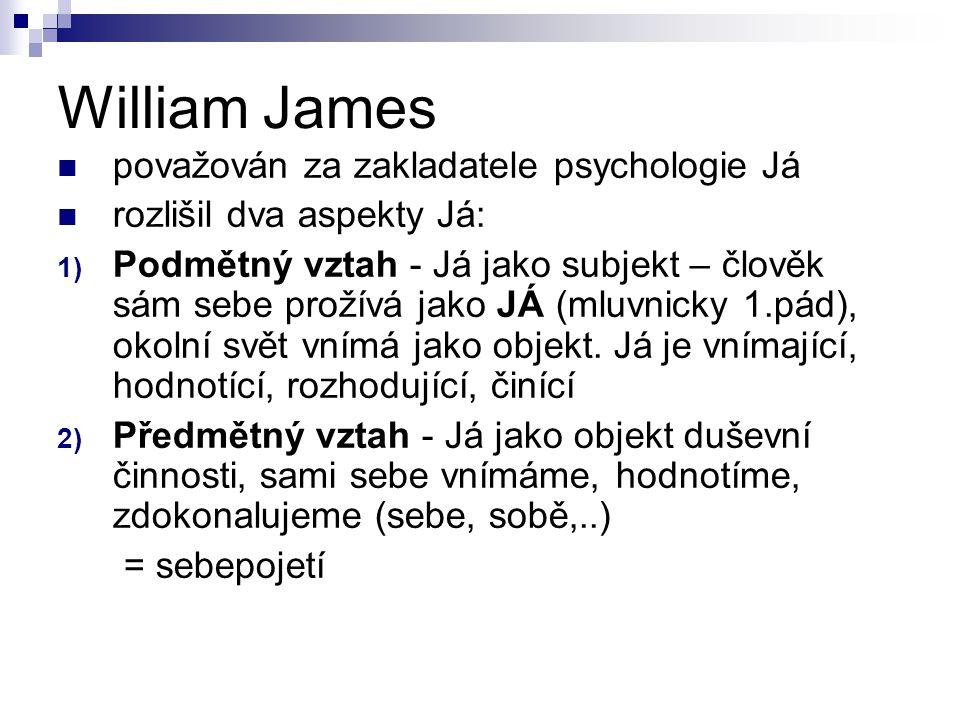 William James považován za zakladatele psychologie Já rozlišil dva aspekty Já: 1) Podmětný vztah - Já jako subjekt – člověk sám sebe prožívá jako JÁ (mluvnicky 1.pád), okolní svět vnímá jako objekt.