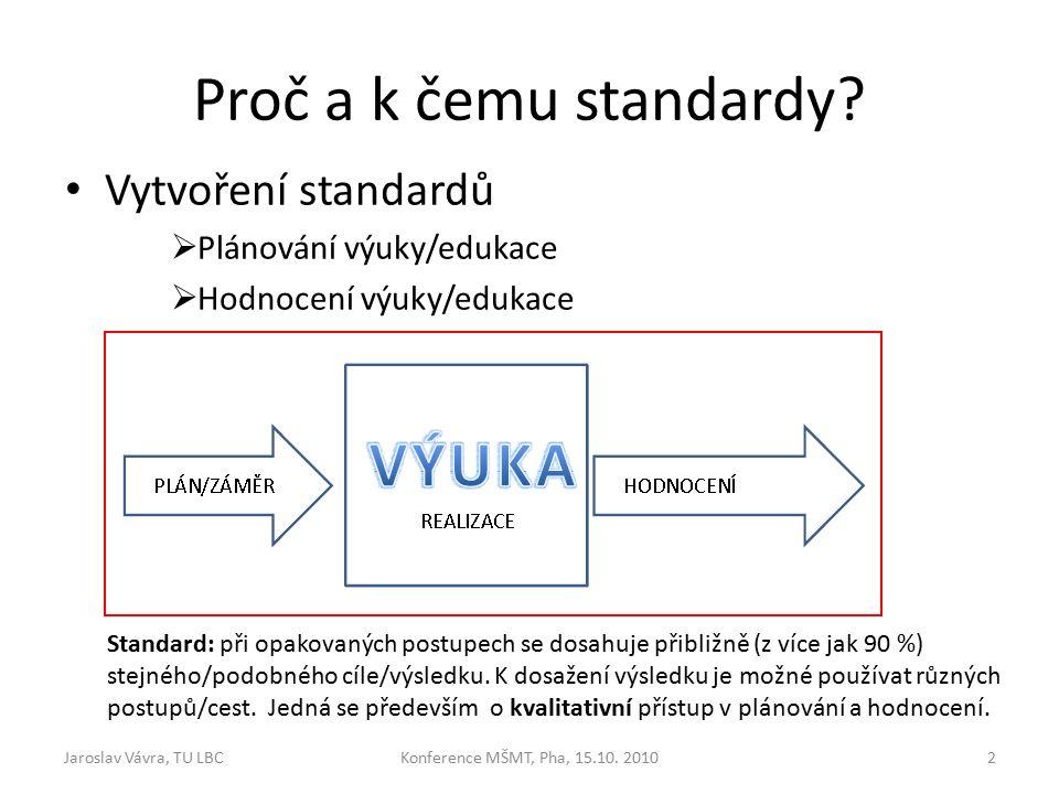 Proč a k čemu standardy.