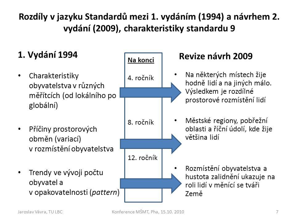 Rozdíly v jazyku Standardů mezi 1. vydáním (1994) a návrhem 2.
