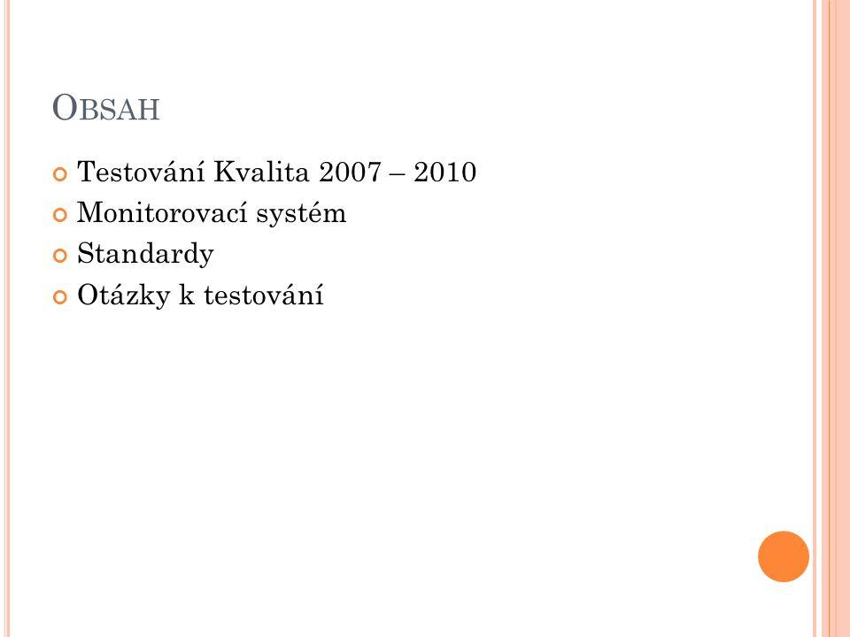 O BSAH Testování Kvalita 2007 – 2010 Monitorovací systém Standardy Otázky k testování