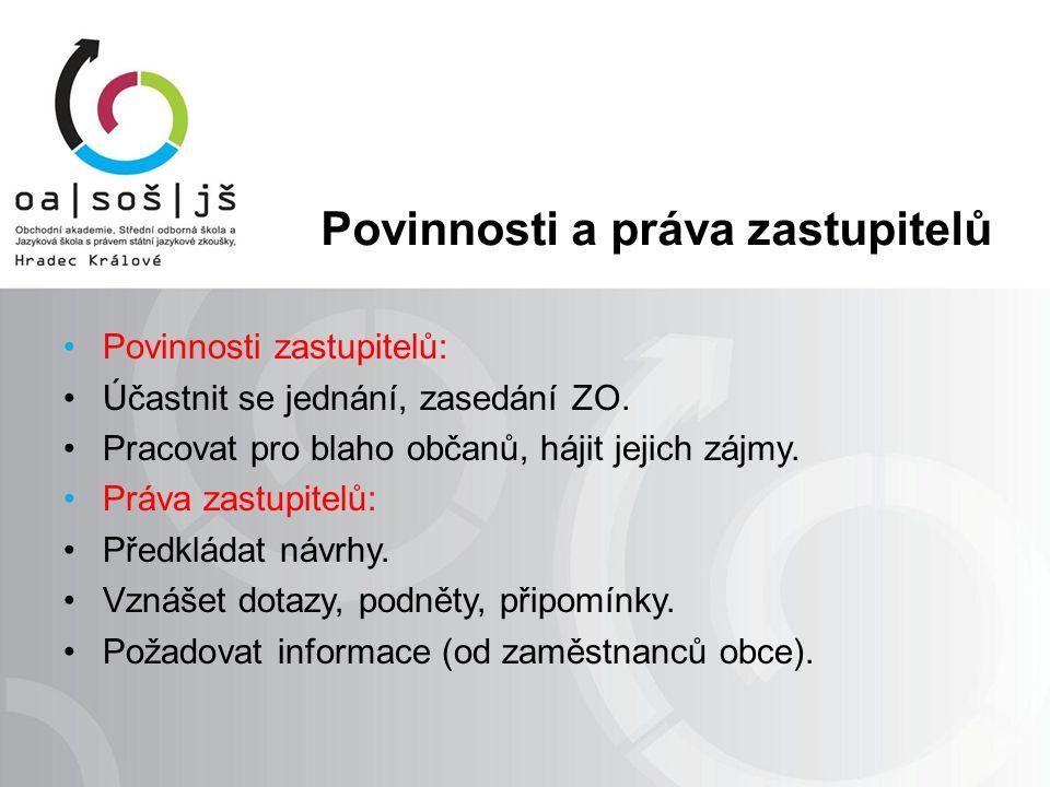 Povinnosti a práva zastupitelů Povinnosti zastupitelů: Účastnit se jednání, zasedání ZO. Pracovat pro blaho občanů, hájit jejich zájmy. Práva zastupit