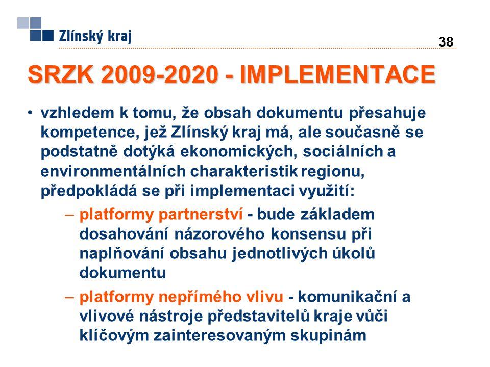 38 SRZK 2009-2020 - IMPLEMENTACE vzhledem k tomu, že obsah dokumentu přesahuje kompetence, jež Zlínský kraj má, ale současně se podstatně dotýká ekonomických, sociálních a environmentálních charakteristik regionu, předpokládá se při implementaci využití: –platformy partnerství - bude základem dosahování názorového konsensu při naplňování obsahu jednotlivých úkolů dokumentu –platformy nepřímého vlivu - komunikační a vlivové nástroje představitelů kraje vůči klíčovým zainteresovaným skupinám