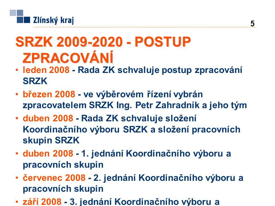 6 SRZK 2008-2020 - POSTUP ZPRACOVÁNÍ prosinec 2008 až říjen 2009 - posuzování vlivů koncepce na životní prostředí (proces SEA dle zákona č.