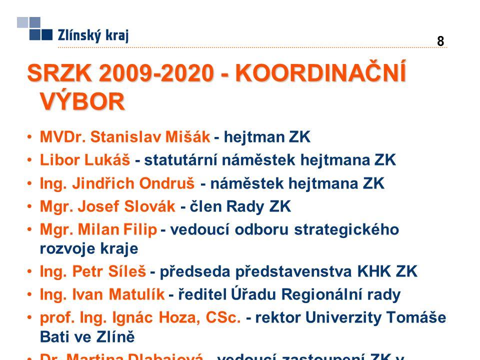 19 SRZK 2009-2020 - VIZE ZLÍNSKÝ KRAJ – region s moderní prosperující ekonomikou s rostoucí životní úrovní a vysokou zaměstnaností, atraktivní pro obyvatele, investory i návštěvníky