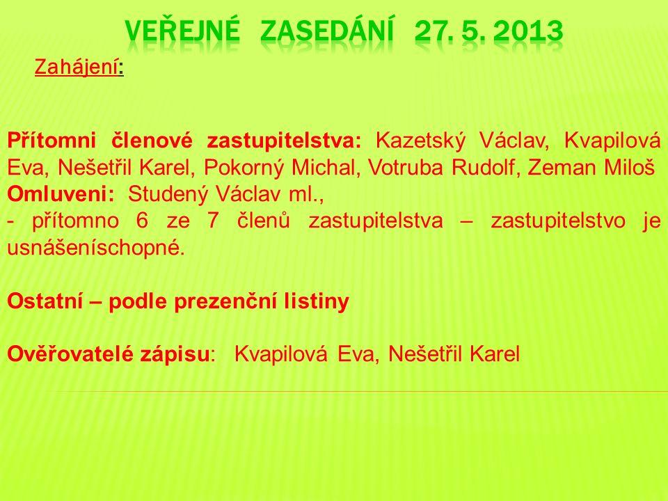 Zahájení: Přítomni členové zastupitelstva: Kazetský Václav, Kvapilová Eva, Nešetřil Karel, Pokorný Michal, Votruba Rudolf, Zeman Miloš Omluveni: Stude