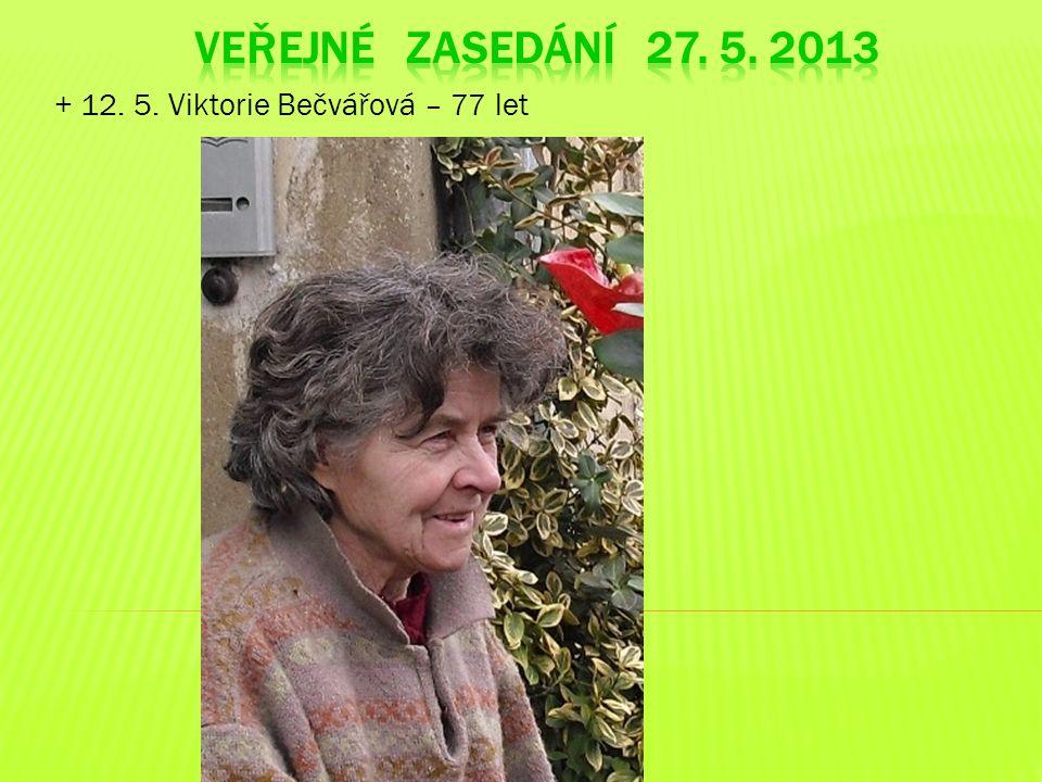 + 12. 5. Viktorie Bečvářová – 77 let