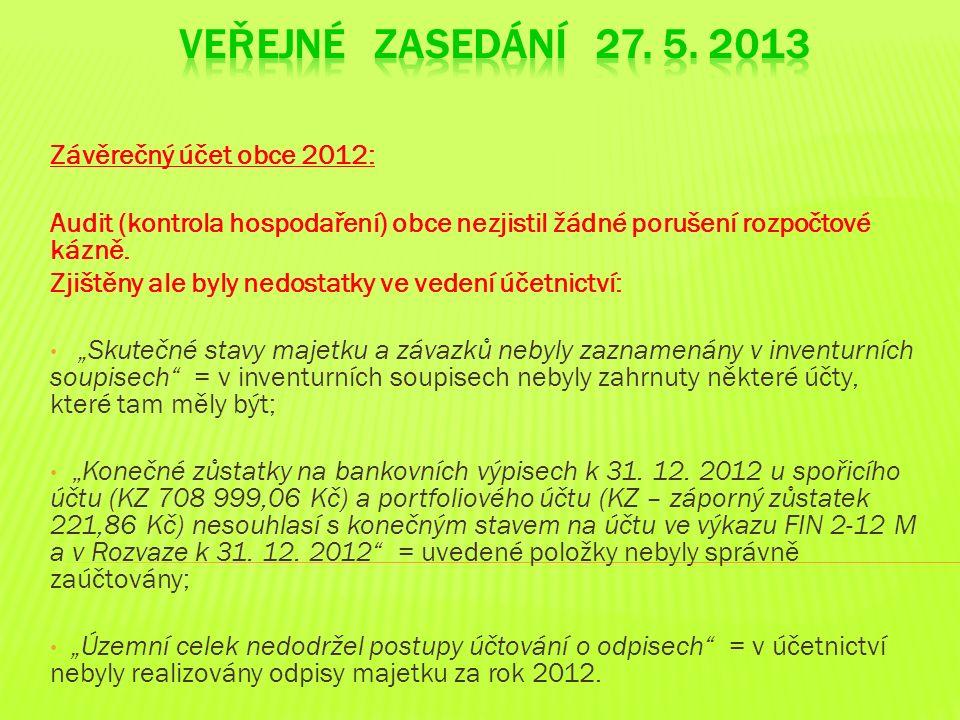 Závěrečný účet obce 2012: Audit (kontrola hospodaření) obce nezjistil žádné porušení rozpočtové kázně. Zjištěny ale byly nedostatky ve vedení účetnict