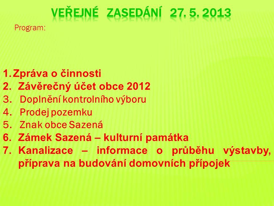 Program: 1.Zpráva o činnosti 2.Závěrečný účet obce 2012 3.