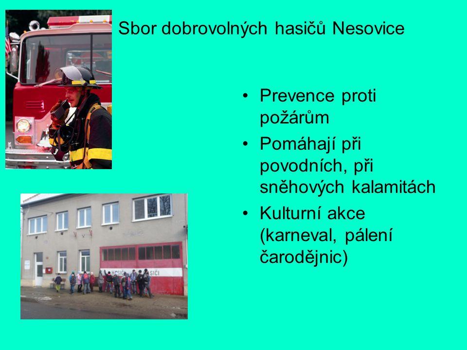 Sbor dobrovolných hasičů Nesovice Prevence proti požárům Pomáhají při povodních, při sněhových kalamitách Kulturní akce (karneval, pálení čarodějnic)