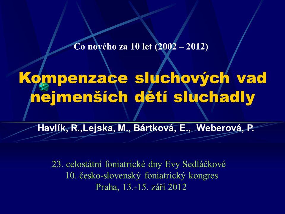 Kompenzace sluchových vad nejmenších dětí sluchadly Havlík, R.,Lejska, M., Bártková, E., Weberová, P.