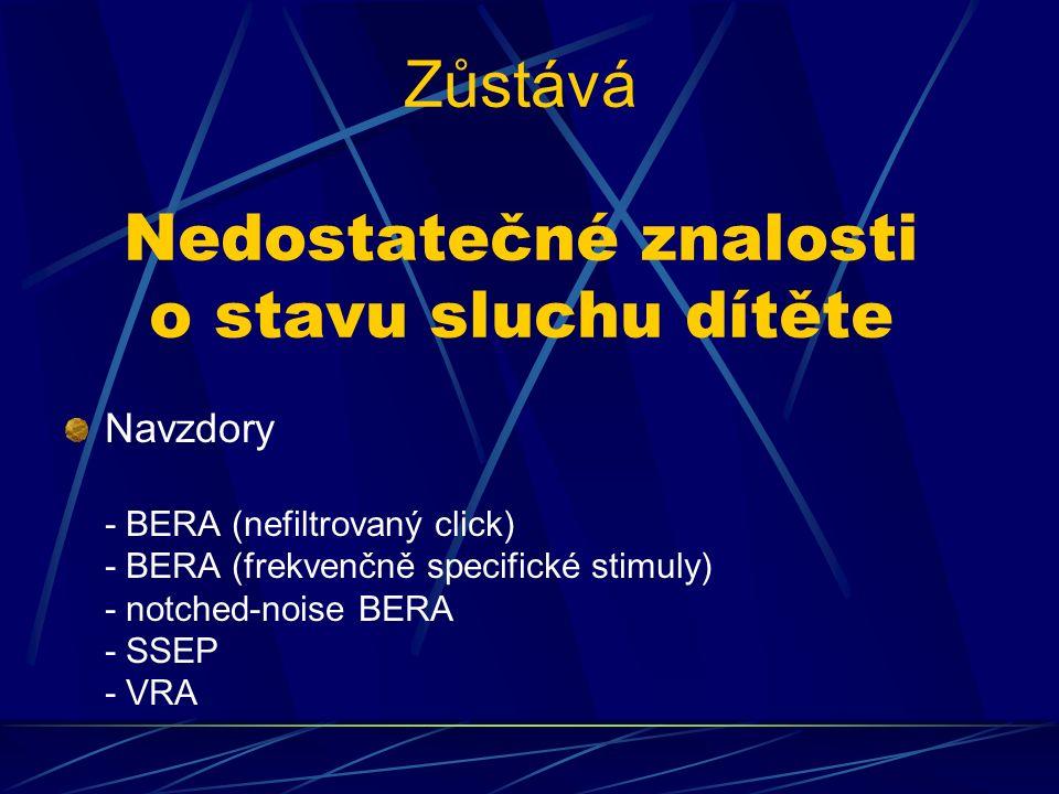 Zůstává Nedostatečné znalosti o stavu sluchu dítěte Navzdory - BERA (nefiltrovaný click) - BERA (frekvenčně specifické stimuly) - notched-noise BERA - SSEP - VRA
