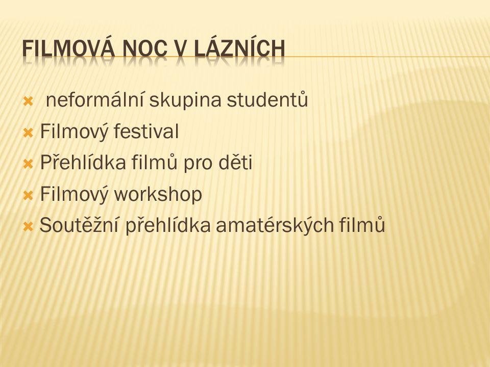  neformální skupina studentů  Filmový festival  Přehlídka filmů pro děti  Filmový workshop  Soutěžní přehlídka amatérských filmů