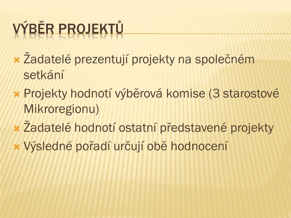  Žadatelé prezentují projekty na společném setkání  Projekty hodnotí výběrová komise (3 starostové Mikroregionu)  Žadatelé hodnotí ostatní představené projekty  Výsledné pořadí určují obě hodnocení