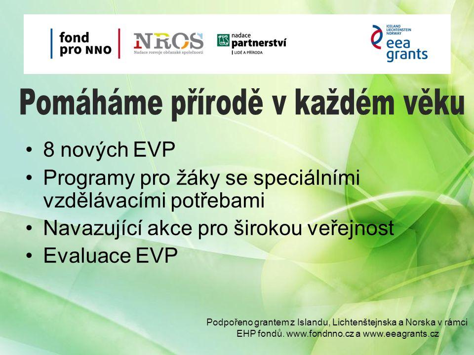 8 nových EVP Programy pro žáky se speciálními vzdělávacími potřebami Navazující akce pro širokou veřejnost Evaluace EVP Podpořeno grantem z Islandu, Lichtenštejnska a Norska v rámci EHP fondů.