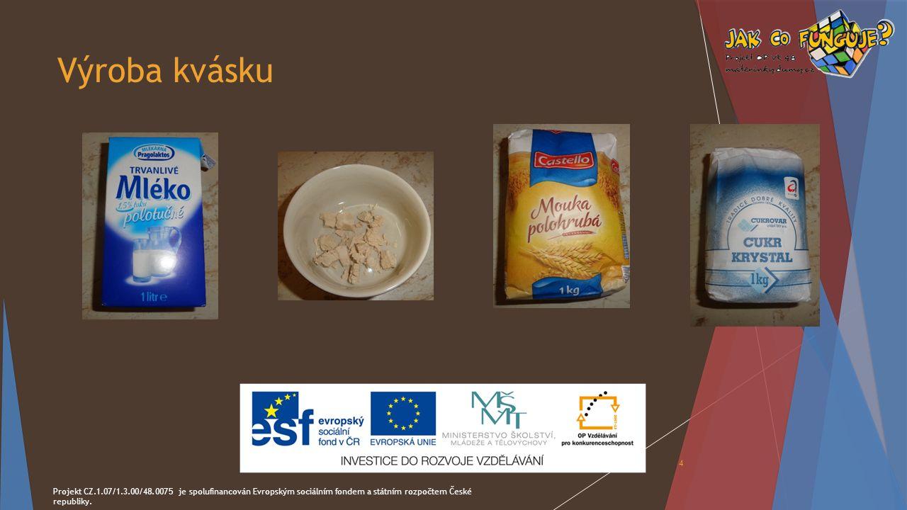 Výroba kvásku Projekt CZ.1.07/1.3.00/48.0075 je spolufinancován Evropským sociálním fondem a státním rozpočtem České republiky. 4